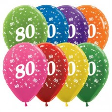 80th Birthday Metallic Multi Coloured  Latex Balloons