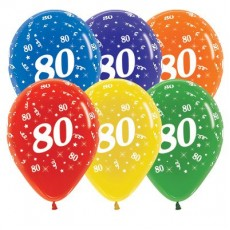80th Birthday Crystal Multi Coloured  Latex Balloons