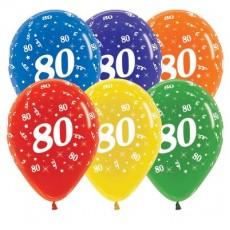 Teardrop Crystal Multi Coloured 80th Birthday Latex Balloons 30cm Pack of 25