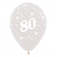 80th Birthday Crystal Clear  Latex Balloons