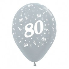 Teardrop Satin Pearl Silver 80th Birthday Latex Balloons 30cm Pack of 25