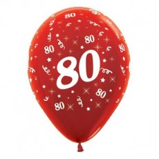 80th Birthday Metallic Red  Latex Balloons