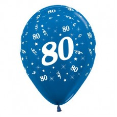 80th Birthday Metallic Blue  Latex Balloons