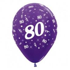 80th Birthday Metallic Pearl Purple Violet  Latex Balloons