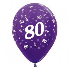 80th Birthday Metallic Purple Violet  Latex Balloons