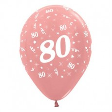 80th Birthday Metallic Rose Gold  Latex Balloons