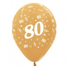 80th Birthday Metallic Gold  Latex Balloons