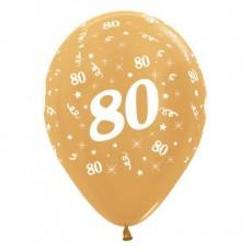 80th Birthday Metallic Pearl Gold  Latex Balloons