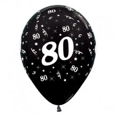 80th Birthday Metallic Black  Latex Balloons