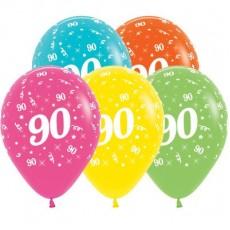 90th Birthday Tropical Multi Coloured  Latex Balloons