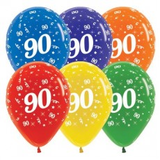 Teardrop Crystal Multi Coloured 90th Birthday Latex Balloons 30cm Pack of 25