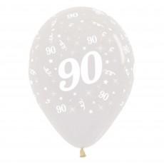 90th Birthday Crystal Clear  Latex Balloons