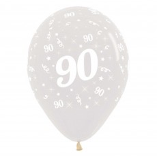 Teardrop Crystal Clear 90th Birthday Latex Balloons 30cm Pack of 25