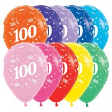 100th Birthday Fashion Multi Coloured  Latex Balloons