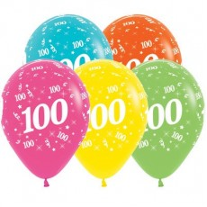 100th Birthday Tropical Multi Coloured  Latex Balloons