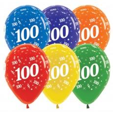 Teardrop Crystal Multi Coloured 100th Birthday Latex Balloons 30cm Pack of 25