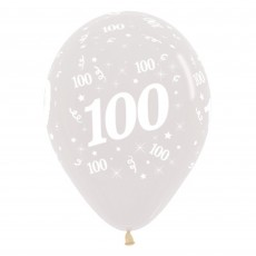Teardrop Crystal Clear 100th Birthday Latex Balloons 30cm Pack of 25