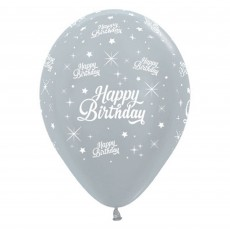 Happy Birthday Satin Pearl Silver Twinkling Stars Latex Balloons