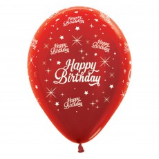 Happy Birthday Metallic Red Twinkling Stars Latex Balloons