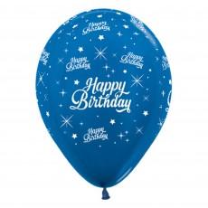 Happy Birthday Metallic Blue Twinkling Stars Latex Balloons