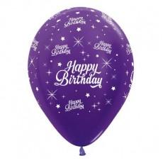 Happy Birthday Metallic Purple Violet Twinkling Stars Latex Balloons