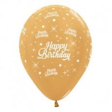 Happy Birthday Metallic Gold Twinkling Stars Latex Balloons