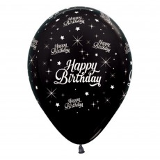 Happy Birthday Metallic Black Twinkling Stars Latex Balloons