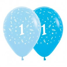 Number 1 Fashion Blue & Royal Blue  Latex Balloons