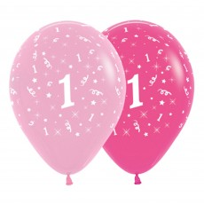 Number 1 Pink  Latex Balloons