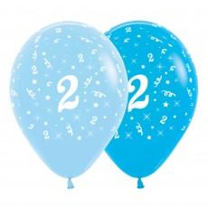 Number 2 Fashion Blue & Royal Blue  Latex Balloons