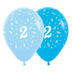 Number 2 Party Decorations - Latex Balloons Fashion Blue & Royal Blue