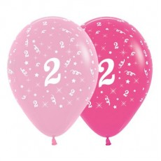 Number 2 Pink  Latex Balloons
