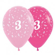 Number 3 Pink  Latex Balloons