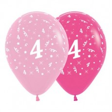 Number 4 Pink  Latex Balloons