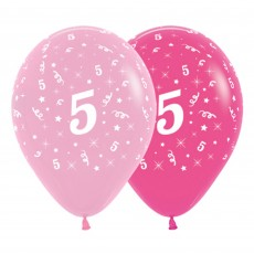 Number 5 Pink  Latex Balloons