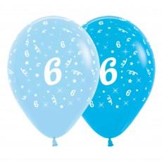 Number 6 Fashion Blue & Royal Blue  Latex Balloons