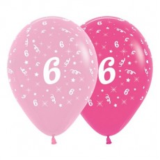 Number 6 Pink  Latex Balloons