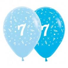 Number 7 Fashion Blue & Royal Blue  Latex Balloons