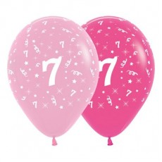 Number 7 Pink  Latex Balloons