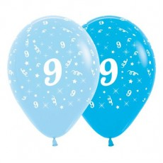 Number 9 Fashion Blue & Royal Blue  Latex Balloons