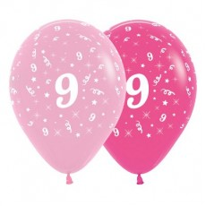 Number 9 Pink  Latex Balloons