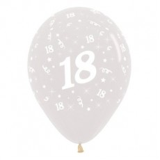 Teardrop Crystal Clear 18th Birthday Latex Balloons 30cm Pack of 6