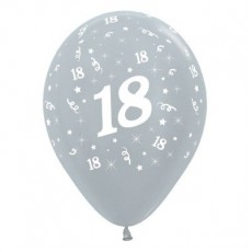 18th Birthday Satin Pearl Silver  Latex Balloons