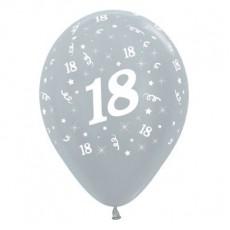 Teardrop Satin Pearl Silver 18th Birthday Latex Balloons 30cm Pack of 6