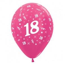 Teardrop Metallic Fuchsia 18th Birthday Latex Balloons 30cm Pack of 6