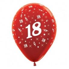 18th Birthday Metallic Red  Latex Balloons