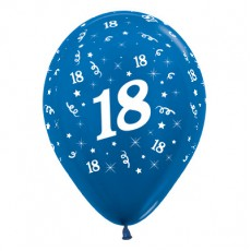 18th Birthday Metallic Blue  Latex Balloons