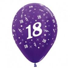 18th Birthday Metallic Purple Violet  Latex Balloons