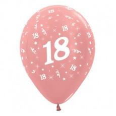 Teardrop Metallic Rose Gold 18th Birthday Latex Balloons 30cm Pack of 6