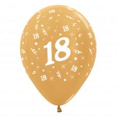 Teardrop Metallic Gold 18th Birthday Latex Balloons 30cm Pack of 6